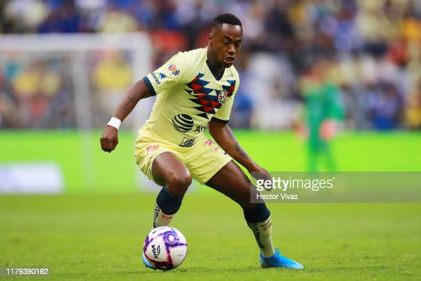 Renato Ibarra of America drives the ball during the 13th round match between Cruz Azul and America as part of the Torneo Apertura 2019 Liga MX at...