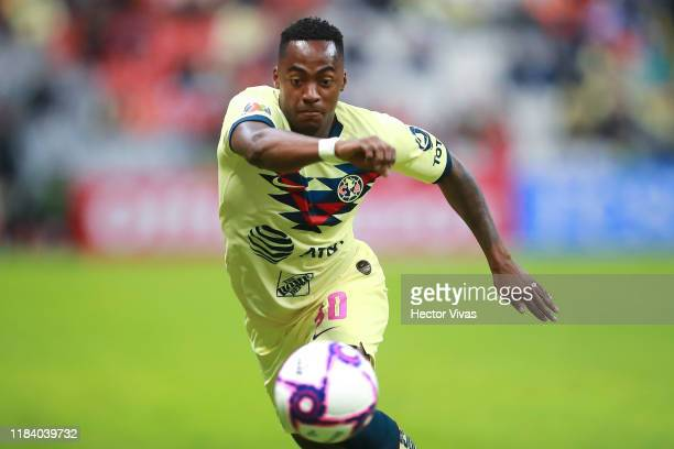 Renato Ibarra of America drives the ball during the 15th round match between America and Puebla as part of the Torneo Apertura 2019 Liga MX at Azteca...