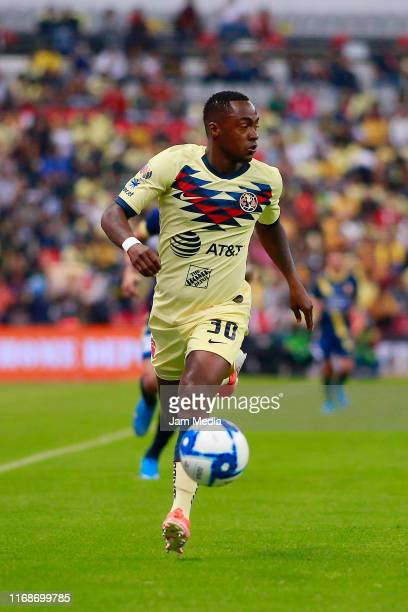 Renato Ibarra of America drives the ball during the 5th round match between America and Morelia as part of the Torneo Apertura 2019 Liga MX at Azteca...