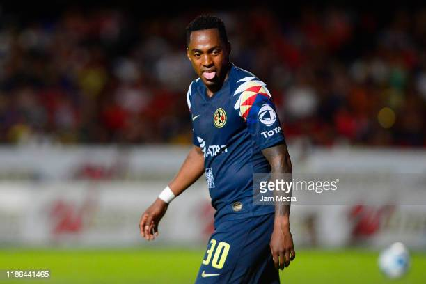 Renato Ibarra of America gesticulates during the 18th round match between Veracruz and America as part of the Torneo Apertura 2019 Liga MX at Luis...