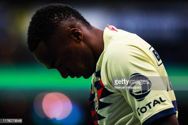 Renato Ibarra of America gestures during the 10th round match between America and Queretaro as part of the Torneo Apertura 2019 Liga MX at Azteca...