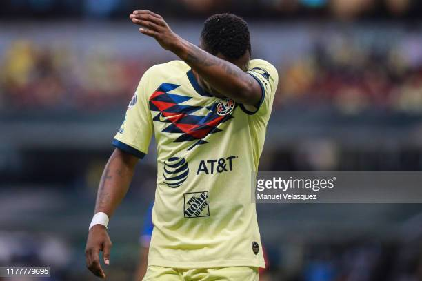 Renato Ibarra of America gestures during the 12th round match between America and Chivas as part of the Torneo Apertura 2019 Liga MX at Azteca...