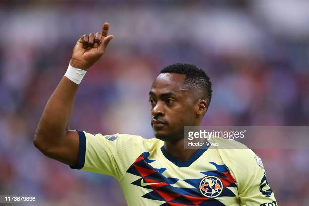 Renato Ibarra of America gestures during the 13th round match between Cruz Azul and America as part of the Torneo Apertura 2019 Liga MX at Azteca...