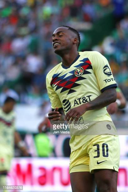 Renato Ibarra of America reacts during the 2nd round match between Leon and America as part of the Torneo Apertura 2019 Liga MX at Leon Stadium on...