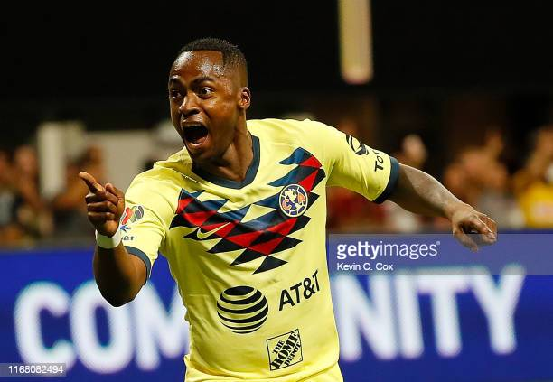 Renato Ibarra of Club America reacts after scoring the first goal against Atlanta United in the first half during the final of the Campeones Cup...