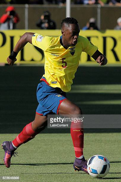 Renato Ibarra of Ecuador drives the ball during a match between Ecuador and Venezuela as part of FIFA 2018 World Cup Qualifiers at Olimpico Atahualpa...