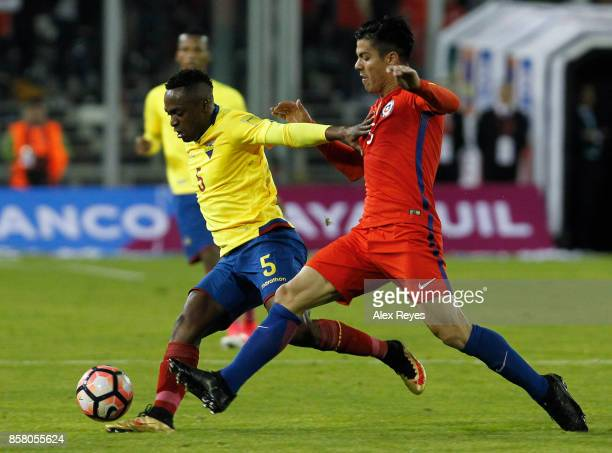 Renato Ibarra of Ecuador fights for the ball with Francisco Silva of Chile during a match between Chile and Ecuador as part of FIFA 2018 World Cup...