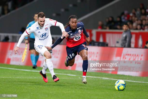 Renato Jr Luz Sanches of Lille OSC controls the ball against Lucas Tousart of Olympique Lyonnais during the Ligue 1 match between Lille OSC and...