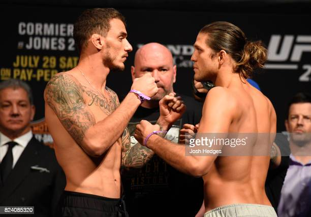 Renato Moicano of Brazil and Brian Ortega face off during the UFC 214 weighin inside the Honda Center on July 28 2017 in Anaheim California