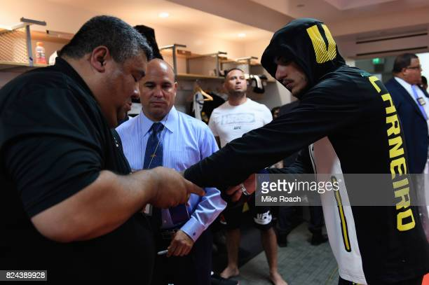 Renato Moicano of Brazil has his hands wrapped prior to his bout against Brian Ortega during the UFC 214 event at Honda Center on July 29 2017 in...