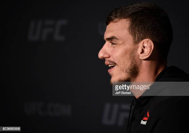 Renato Moicano of Brazil speaks to the media during the UFC 214 Ultimate Media Day at UFC GYM La Mirada on July 27 2017 in La Mirada California