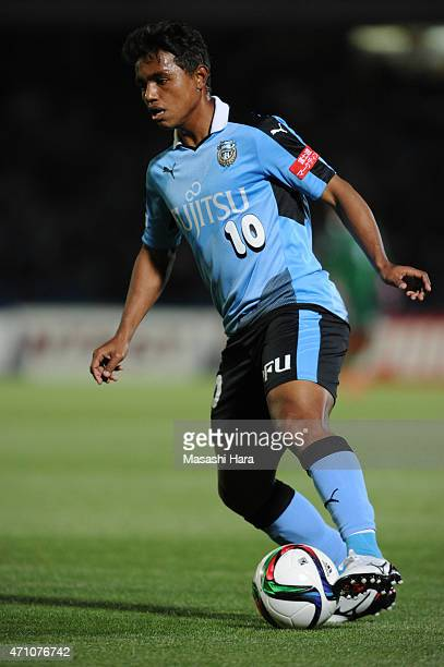 Renato of Kawasaki Frontale in action during the JLeague match between Kawasaki Frontale and Ventforet Kofu at Todoroki Stadium on April 25 2015 in...