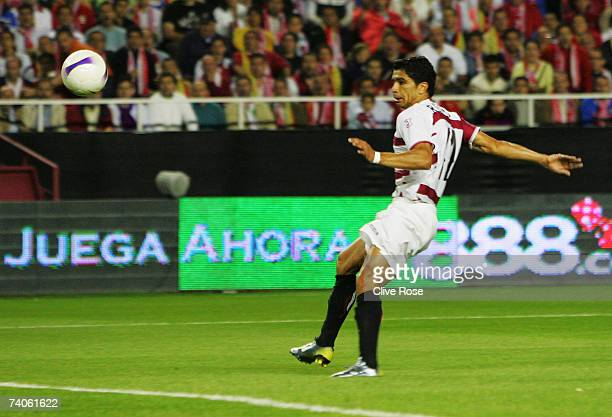 Renato of Sevilla scores during the UEFA Cup semi final secondleg match between Sevilla and Osasuna at the Sanchez Pizjuan stadium on May 5 2007 in...