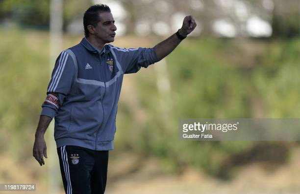 Renato Paiva of SL Benfica B gestures during the Liga Pro match between SL Benfica B and UD Vilafranquense at Benfica Campus on February 2 2020 in...