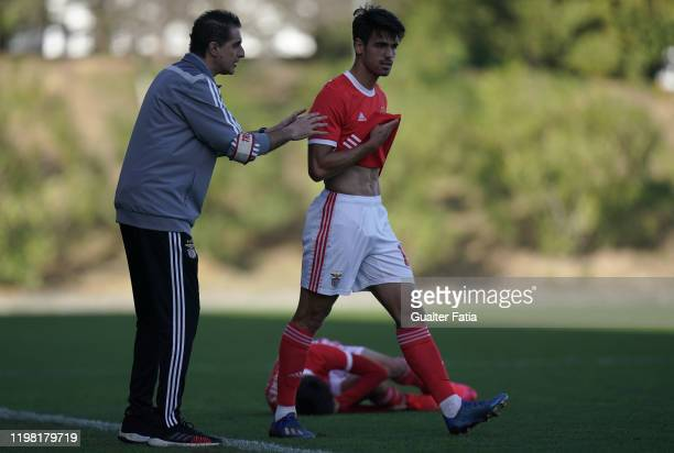 Renato Paiva of SL Benfica B talks with Joao Ferreira of SL Benfica B during the Liga Pro match between SL Benfica B and UD Vilafranquense at Benfica...