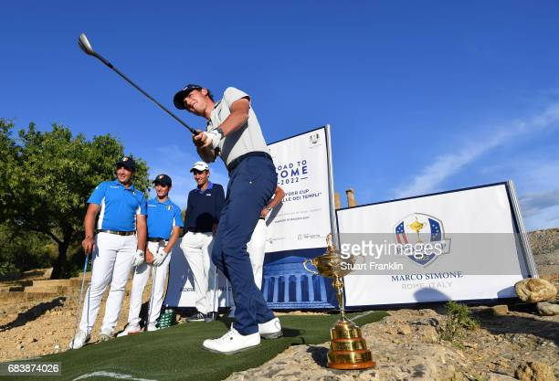 Renato Paratore of Italy plays a shot during a Ryder Cup Rome 2022 promotion event at the Valley of the Temples prior to the start of The Rocco Forte...