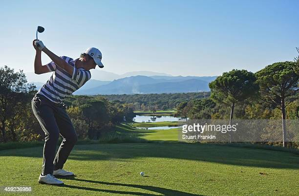Renato Paratore of Italy plays a shot during the fifth round of the European Tour qualifying school final stage at PGA Catalunya Resort on November...