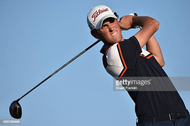 Renato Paratore of Italy plays a shot during the final round of the European Tour qualifying school final stage at PGA Catalunya Resort on November...