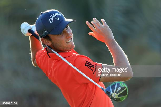 Renato Paratore of Italy plays his shot from the ninth tee during round two of the Abu Dhabi HSBC Golf Championship at Abu Dhabi Golf Club on January...