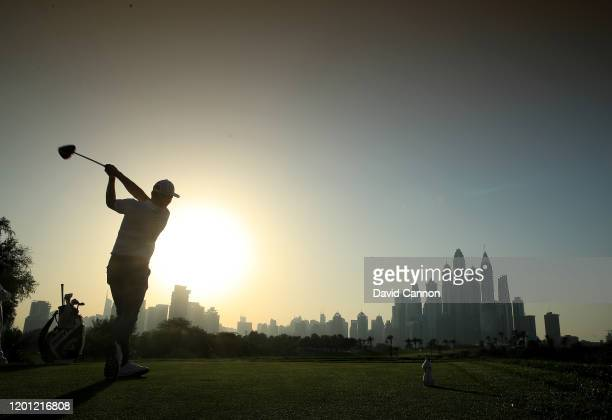 Renato Paratore of Italy plays off the eighth tee during the pro-am as a preview for the Omega Dubai Desert Classic on the Majlis Course at The...