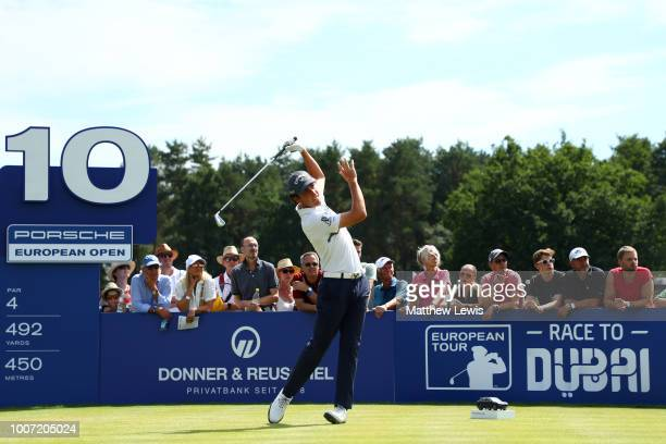 Renato Paratore of Italy tees off on the 10th hole during the final round of the Porsche European Open at Green Eagle Golf Course on July 29 2018 in...