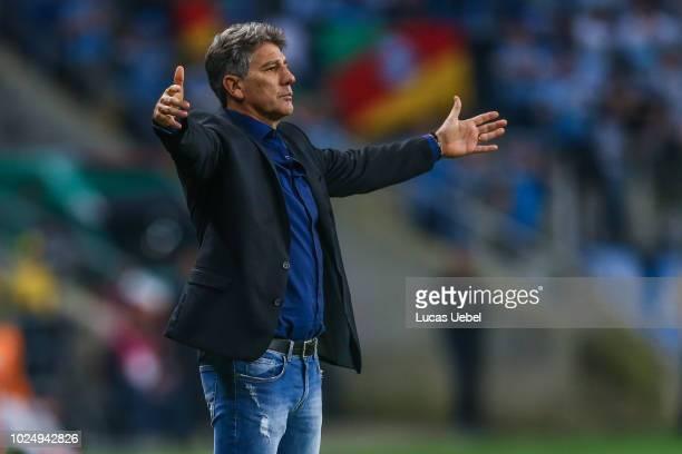 Renato Portaluppi coach of Gremio during the match between Gremio and Estudiantes part of Copa Conmebol Libertadores 2018 at Arena do Gremio on...