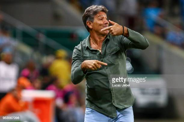Renato Portaluppi coach of Gremio during the match between Gremio and Cerro Porteno part of Copa Bridgestone Libertadores 2018 at Arena do Gremio on...