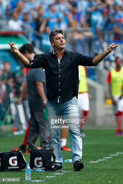 Renato Portaluppi coach of Gremio during the match Gremio v Internacional as part of Brasileirao Series A 2016 at Arena do Gremio on October 23 in...