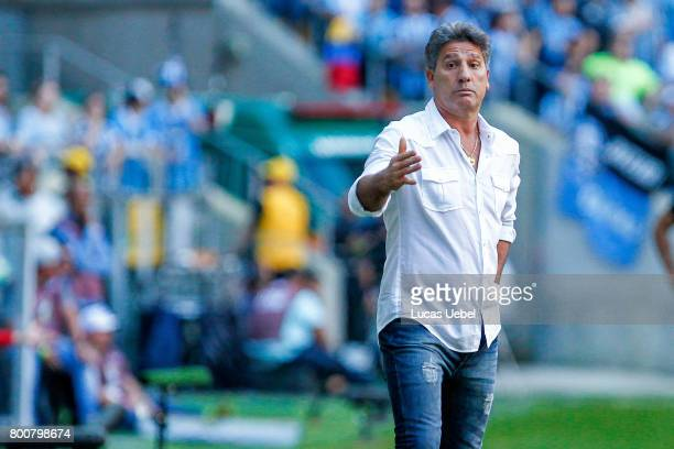 Renato Portaluppi coach of Gremio during the match Gremio v Corinthians as part of Brasileirao Series A 2017 at Arena do Gremio on June 25 in Porto...