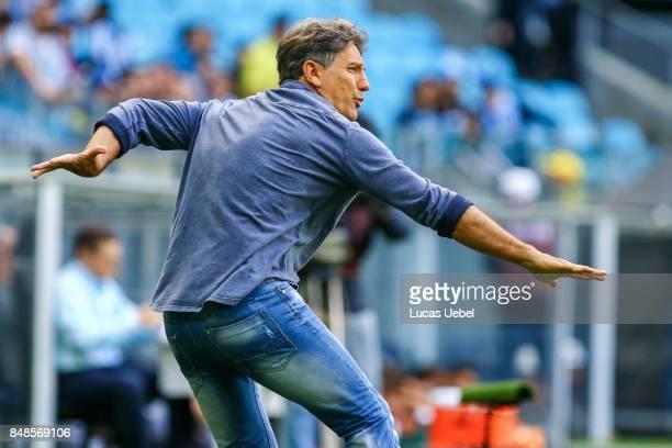 Renato Portaluppi coach of Gremio during the match Gremio v Chapecoense as part of Brasileirao Series A 2017 at Arena do Gremio on September 17 in...