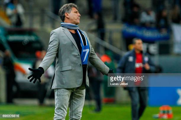 Renato Portaluppi coach of Gremio during the match Gremio v Bahia as part of Brasileirao Series A 2017 at Arena do Gremio on June 12 in Porto Alegre...