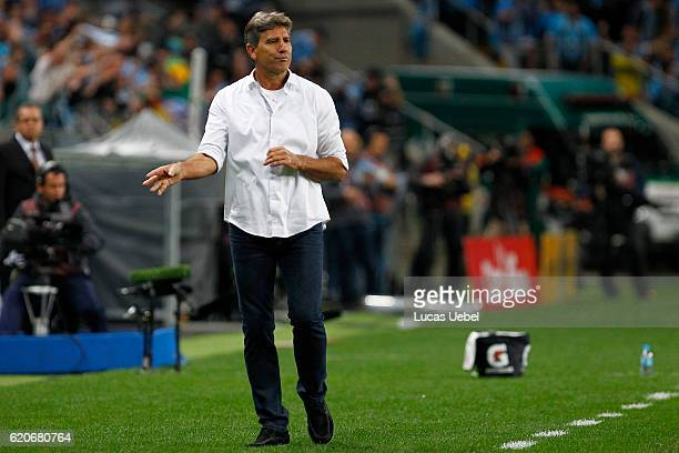 Renato Portaluppi coach of Gremio during the match Gremio v Cruzeiro as part of Copa do Brasil SemiFinals 2016 at Arena do Gremio on November 2 in...