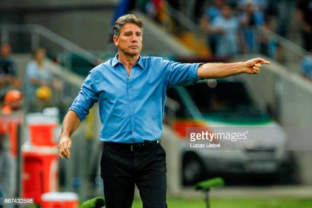 Renato Portaluppi coach of Gremio during the match Gremio v Deportes Iquique as part of Copa Bridgestone Libertadores 2017 at Arena do Gremio on...