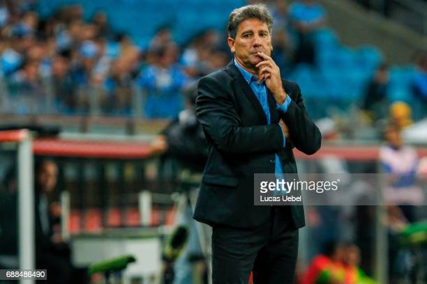 Renato Portaluppi coach of Gremio during the match Gremio v Zamora as part of Copa Bridgestone Libertadores 2017 at Arena do Gremio on May 25 in...
