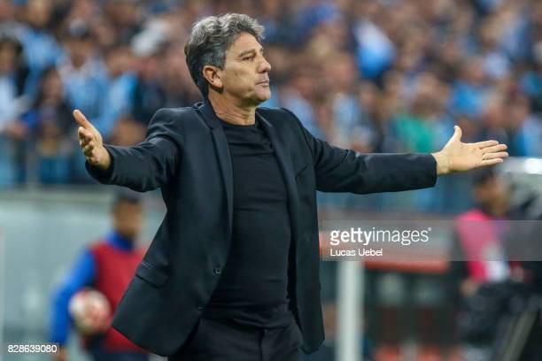 Renato Portaluppi coach of Gremio during the second leg match Gremio v Godoy Cruz as part of round of 16 of Copa CONMEBOL Libertadores Bridgestone...