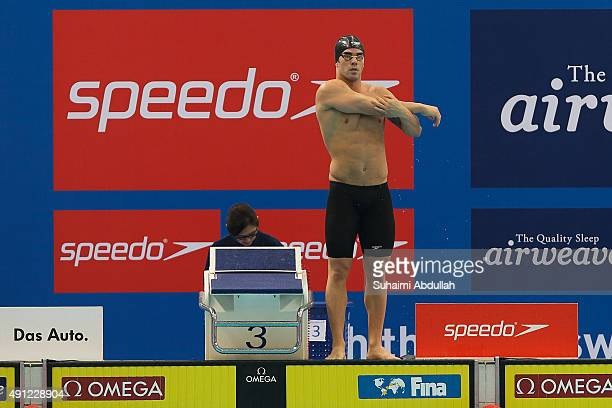 Renato Prono of Paraguay prepares to compete in the Men's 100m Breaststroke Heat during the FINA World Cup at the OCBC Aquatic Centre on October 4...
