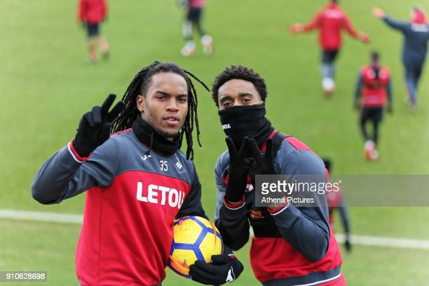 Renato Sanches and Leroy Fer give the victory sign to the camera during the Swansea City Training at The Fairwood Training Ground on January 25 2018...