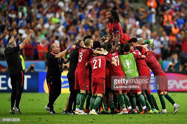 Renato Sanches and Portugal players celebrate their team's first goal scored by Eder during the UEFA EURO 2016 Final match between Portugal and...