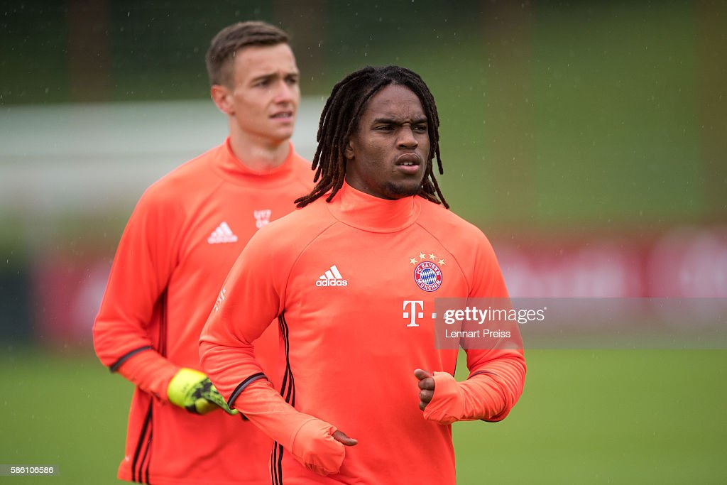 Renato Sanches (R) in action during a training session of FC Bayern Muenchen on August 5, 2016 in Munich, Germany.