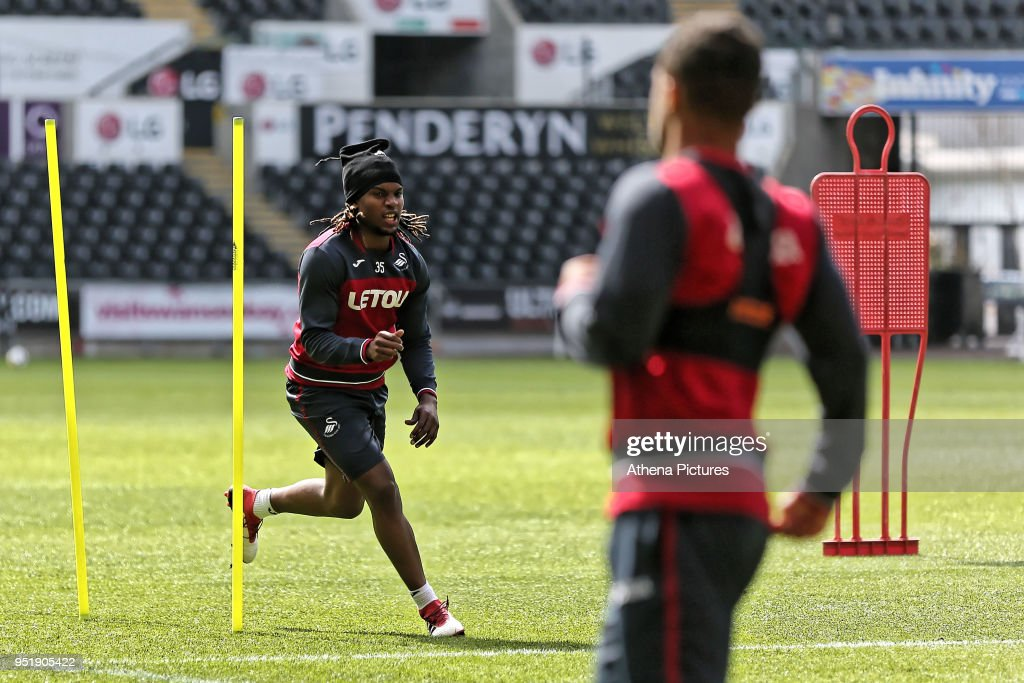 Renato Sanches in action during the Swansea City Training at The Liberty Stadium on April 26, 2018 in Swansea, Wales.