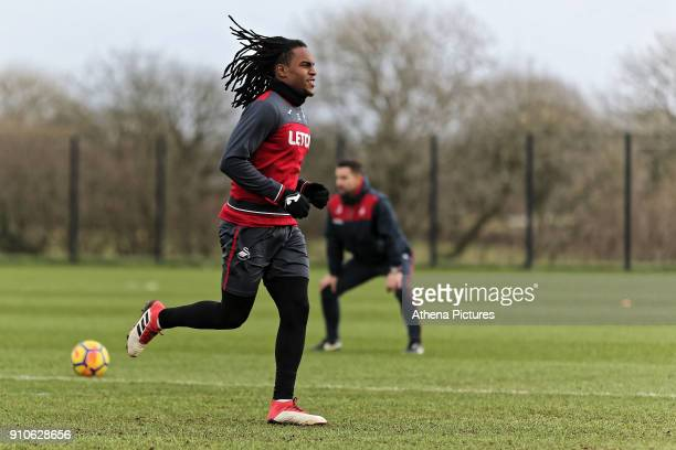 Renato Sanches in action during the Swansea City Training at The Fairwood Training Ground on January 25 2018 in Swansea Wales