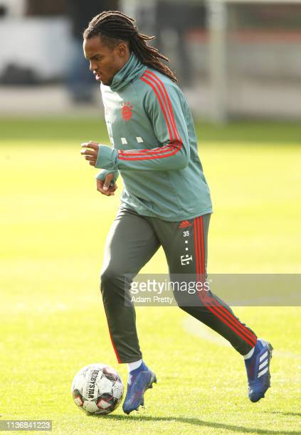 Renato Sanches of Bayern Muenchen in action during Bayern Muenchen training at Saebener Strasse training ground on March 19 2019 in Munich Germany