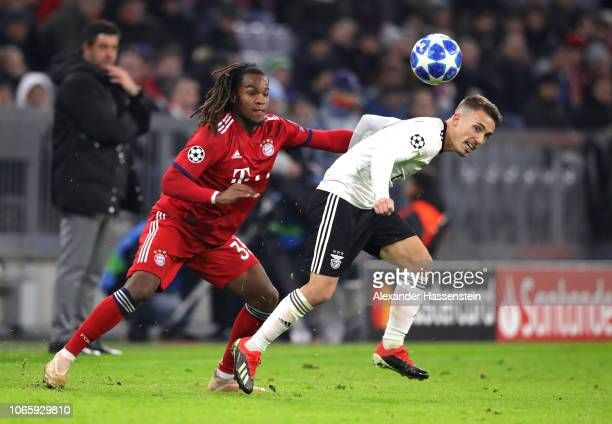 Renato Sanches of Bayern Munich and Alex Grimaldo of Benfica in action during the UEFA Champions League Group E match between FC Bayern Muenchen and...