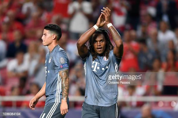 Renato Sanches of Bayern Munich celebrates after scoring his team's second goal during the Group E match of the UEFA Champions League between SL...