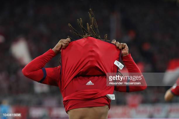 Renato Sanches of Bayern Munich reacts after a missed chance during the Bundesliga match between FC Bayern Muenchen and FC Augsburg at Allianz Arena...
