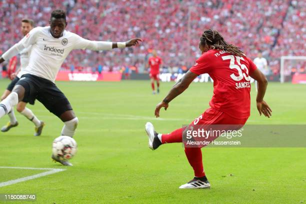Renato Sanches of Bayern Munich scores his team's third goal during the Bundesliga match between FC Bayern Muenchen and Eintracht Frankfurt at...