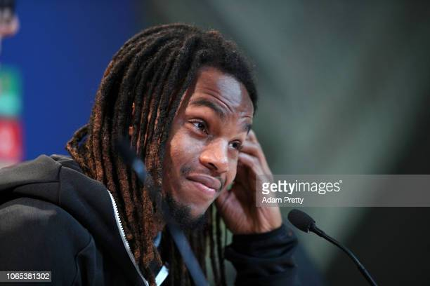 Renato Sanches of Bayern Munich speaks to the media during a Bayern Muenchen Press Conference at Allianz Arena on November 26 2018 in Munich Germany