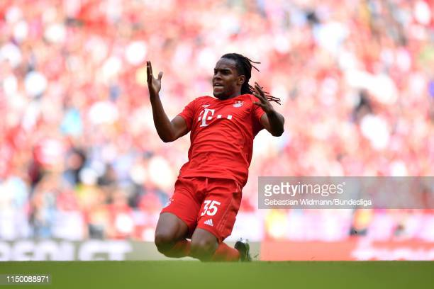 Renato Sanches of FC Bayern München celebrates after scoring his team's third goal during the Bundesliga match between FC Bayern München and...