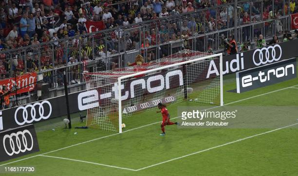 Renato Sanches of FC Bayern Muenchen celebrates after scoring his team's first goal during the Audi cup 2019 semi final match between FC Bayern...