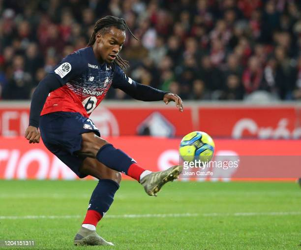 Renato Sanches of Lille during the Ligue 1 match between Lille OSC and Stade Rennais at Stade Pierre Mauroy on February 4, 2020 in Villeneuve d'Ascq...